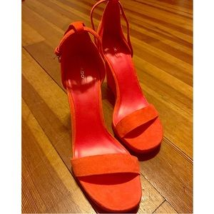 Sexy orange suede, ankle strap, open toe wedges!